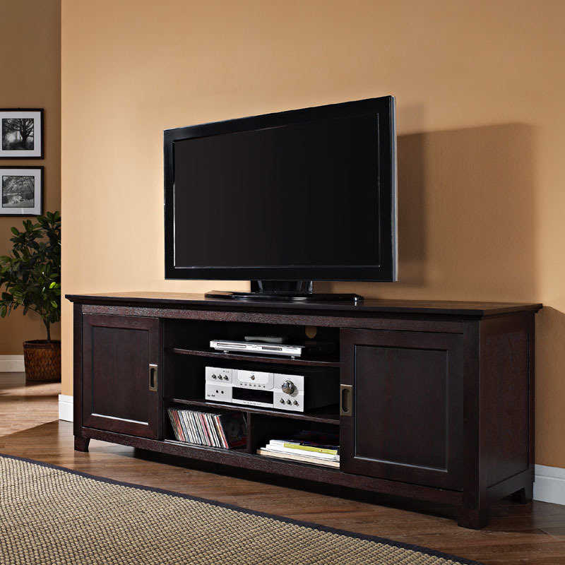 Walker Edison Solid Wood 70 Inch Tv Stand With Sliding Doors