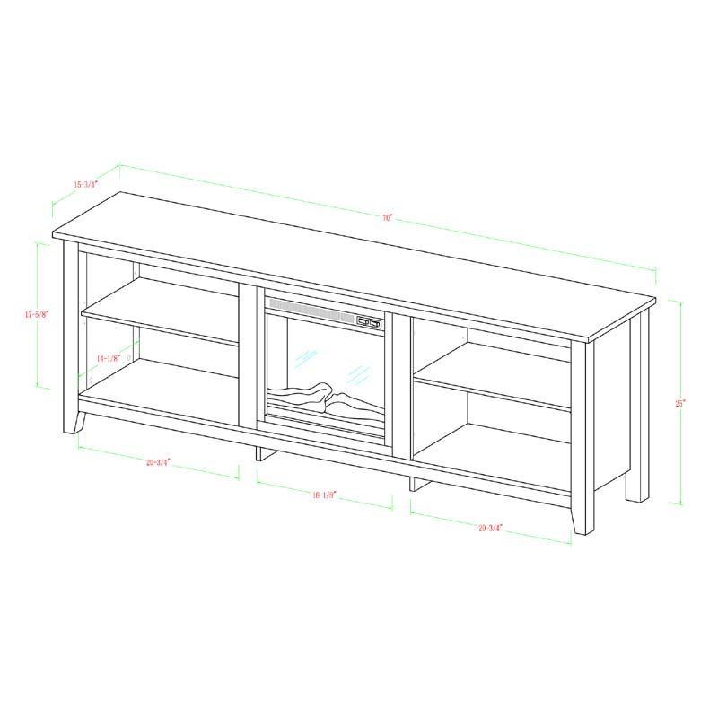inc bowden line fireplace stand z designs products tv with white inch