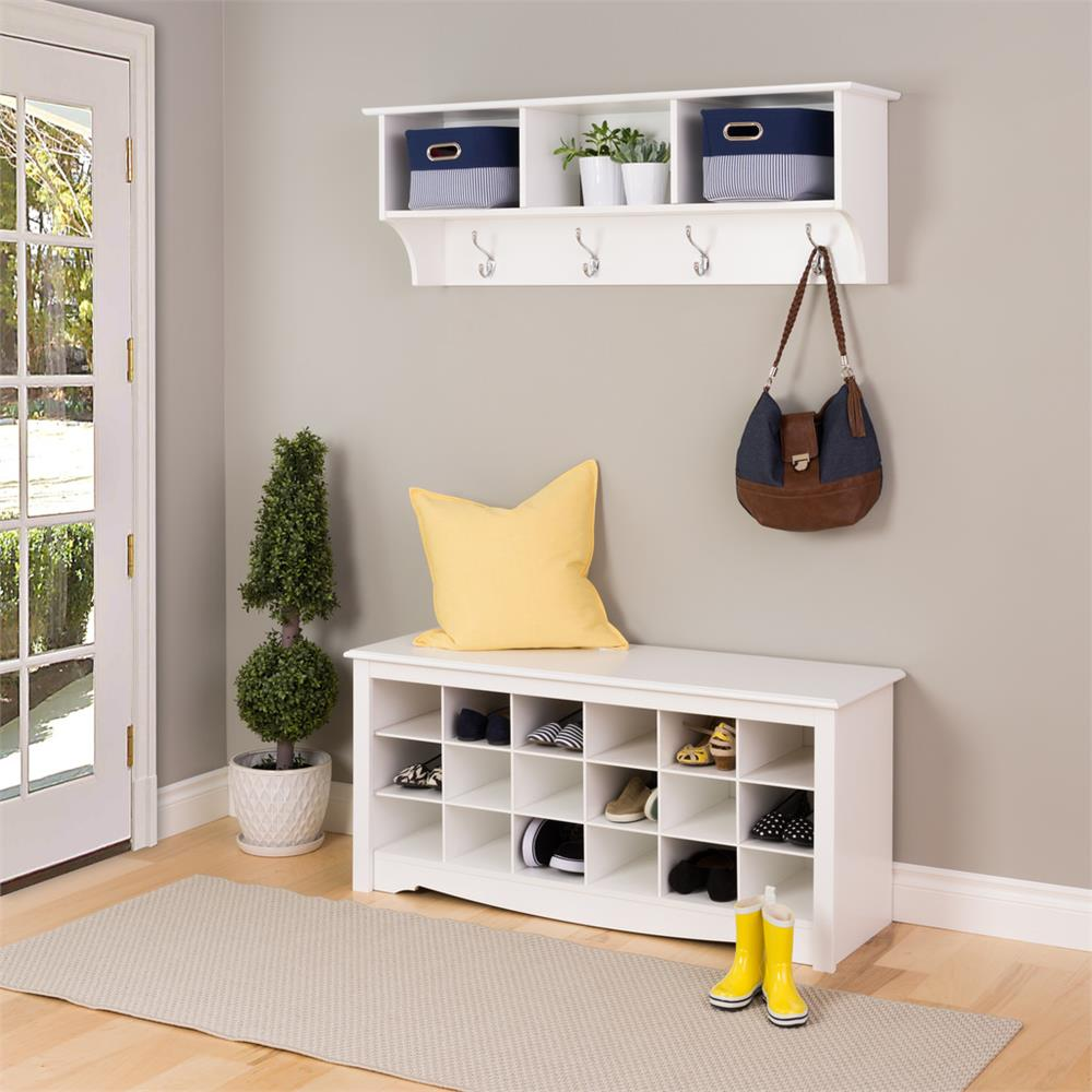 Entryway Shoe Storage Bench White