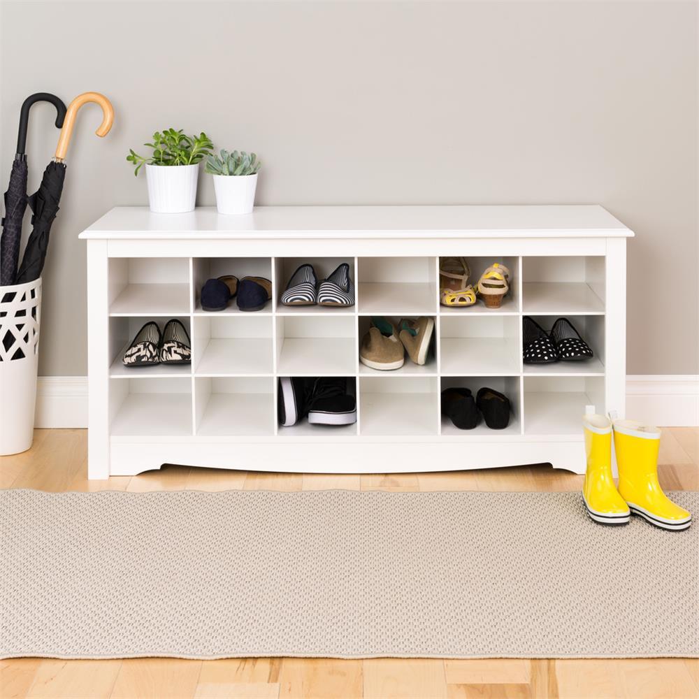 Black Prepac BSS-4824 Shoe Storage Cubbie Bench