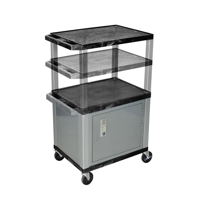 Luxor Kitchen Cabinets: Luxor WT2642C4-N Black 3 Shelf Multi Height Cart With Cabinet