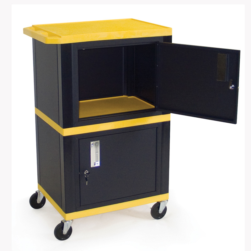 H. Wilson Mobile Tuffy Cart With Two Lockable Cabinets (Various Colors) WT50