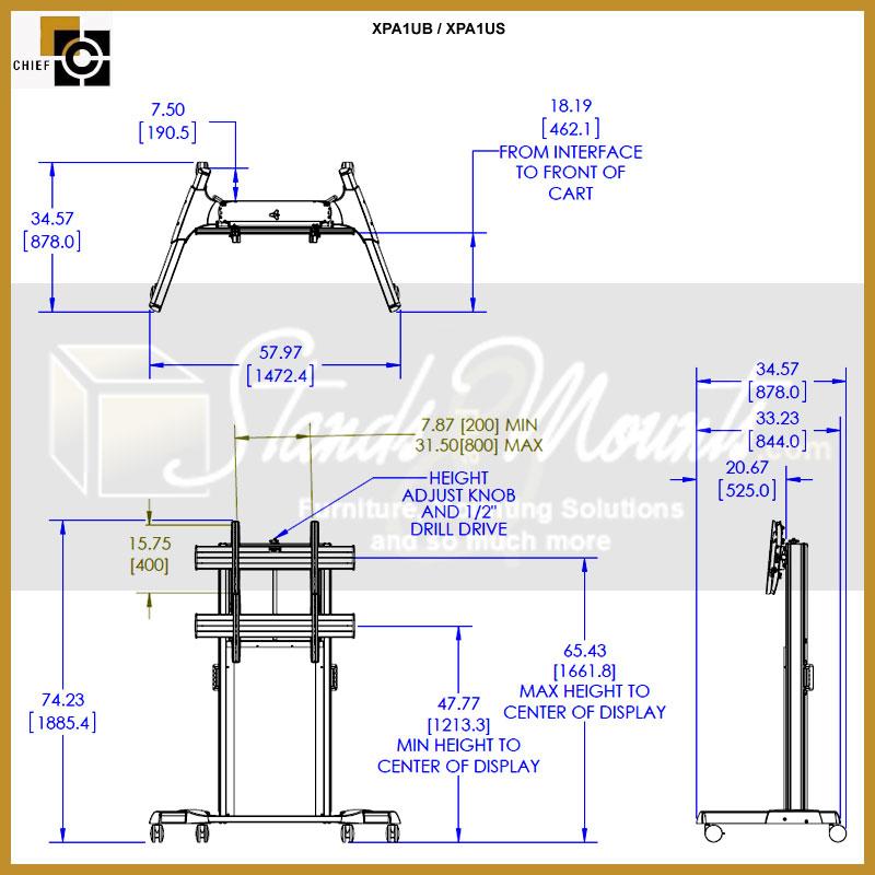 Chief XPA1UB FUSION XL Manual Height Adjustable Black
