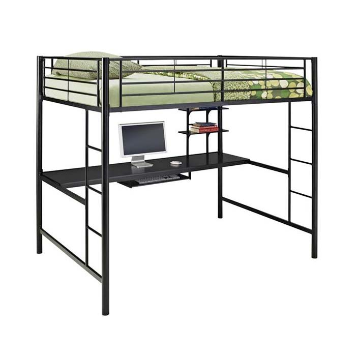 Walker Edison Steel Full Size Loft Bed with Computer Workstation ...