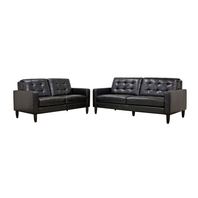 Wholesale Interiors Caledonia Modern Black Leather Sofa Set  1197-2seater-DU013 L016 1197-3seater-DU013 L016