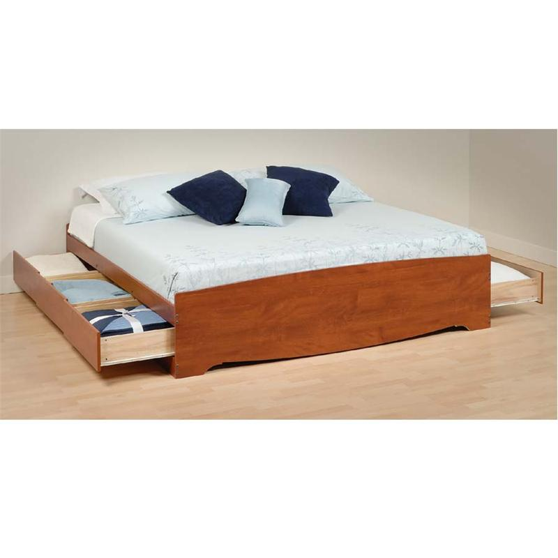Details About White 3 Piece Storage Drawers Twin Bed Box: Prepac King Size Platform Storage Bed Cherry CBK-8400