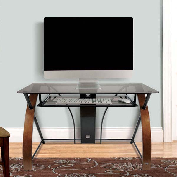 Bello Glass Computer Desk With Curved Wood Sides Espresso Cd8841