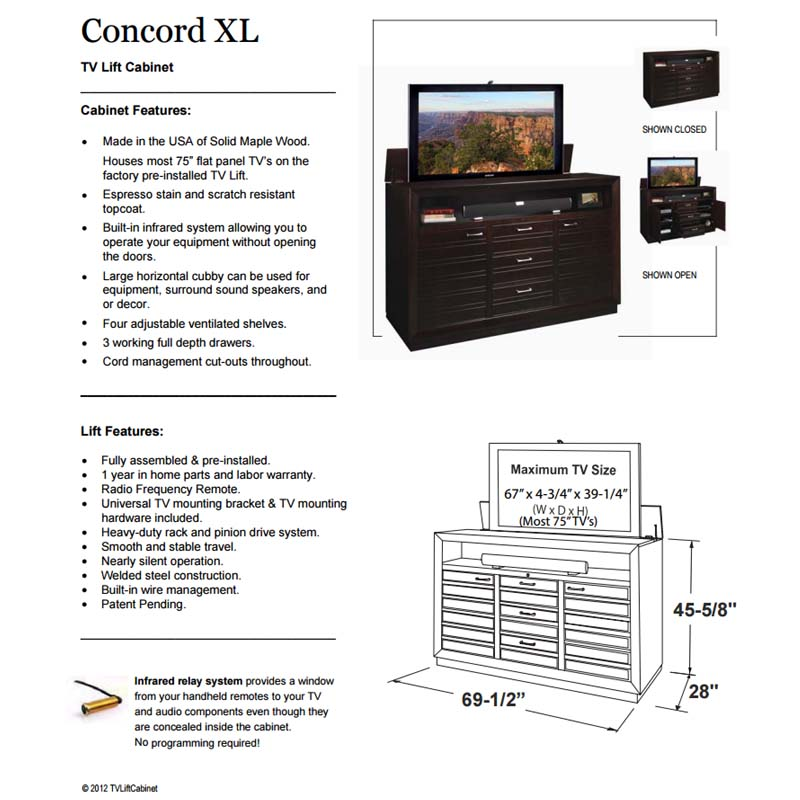 Tv Lift Cabinet Concord Xl For 65 To 75 Inch Screens Espresso At006502