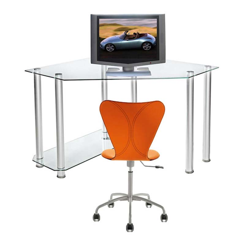 RTA Clear Glass Corner Computer Desk (Silver) CT-013