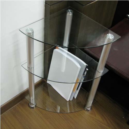 Merveilleux View A Larger Image Of The RTA Glass And Aluminum Corner Side Table Or  Bookshelf (