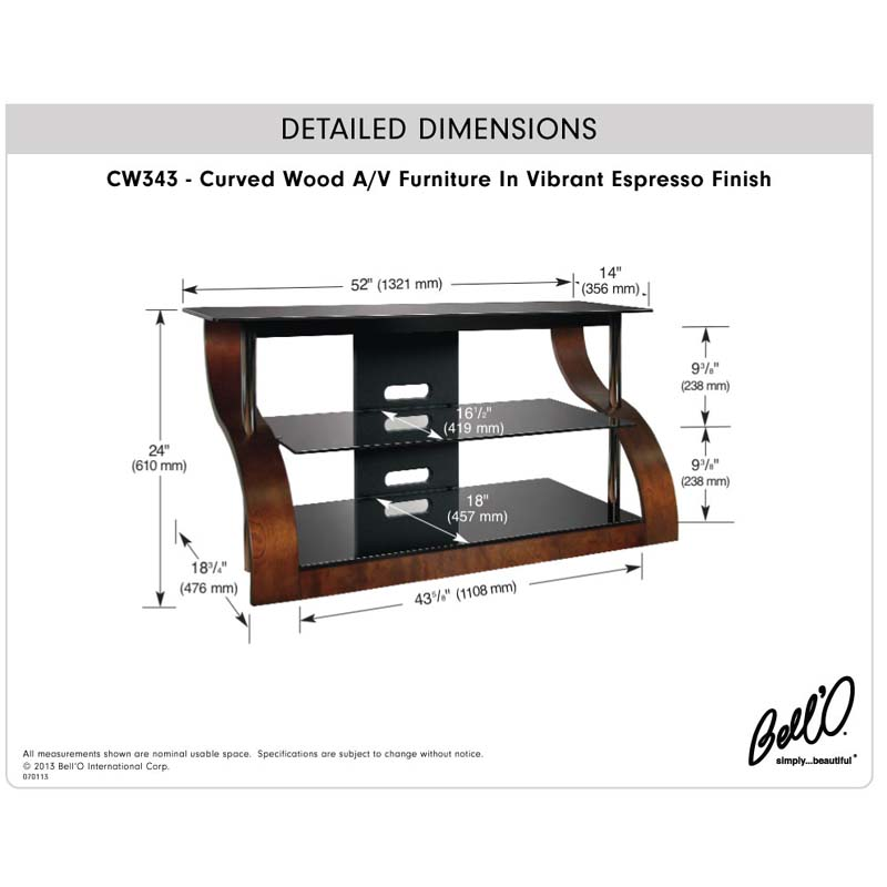 Bello Curved Wood And Black Glass Tv Stand For 32 55 Inch Screens