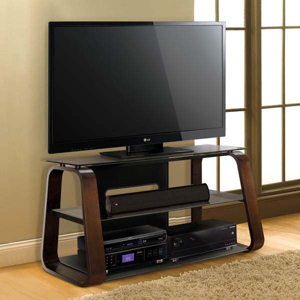 View A Larger Image Of The Bello Curved Wood 55 Inch Tv Stand With Tinted Gl