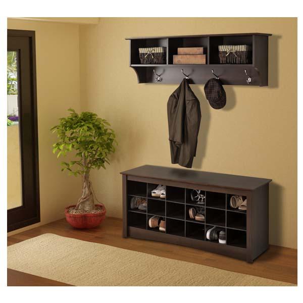 Front Door Bench With Storage: Prepac Entryway Shoe Storage Cubbie Bench Espresso ESS-4824
