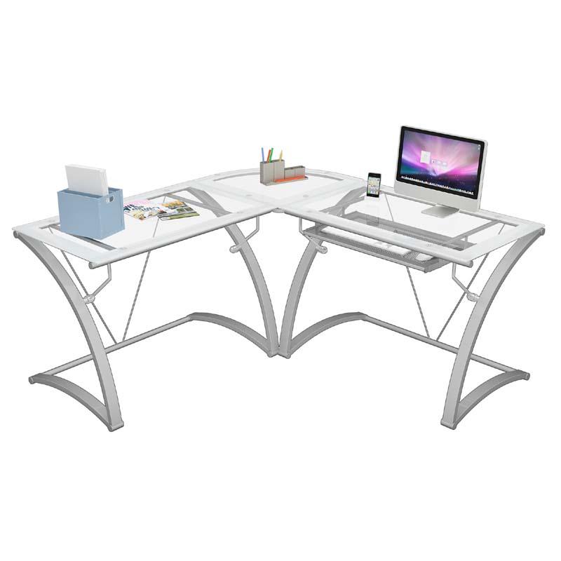 Z Line Designs Kora L Shaped Corner Desk White With Frosted Glass Zl6020 01ldu