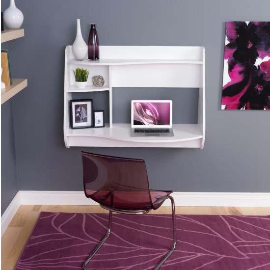 Prepac Kurv Wall Mounted Floating Desk White Wehw 0901 1