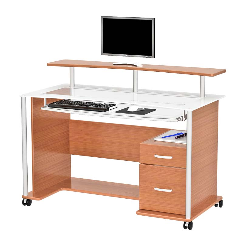 View A Larger Image Of Z Line Designs Maven Computer Desk With Hutch Light