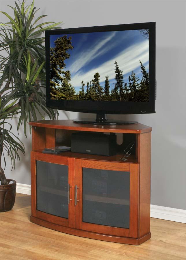 Plateau Newport 40 Walnut Wood Tv Cabinet With Glass Doors