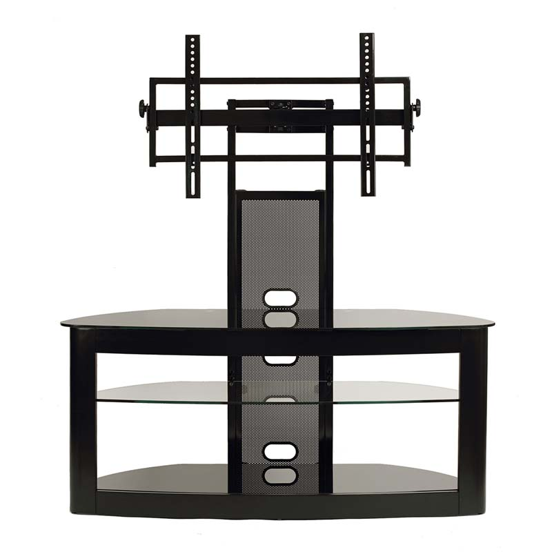View A Larger Image Of The TransDeco Glass TV Stand With Mounting System  For 35 Black 65 Inch Tv Stand Y92