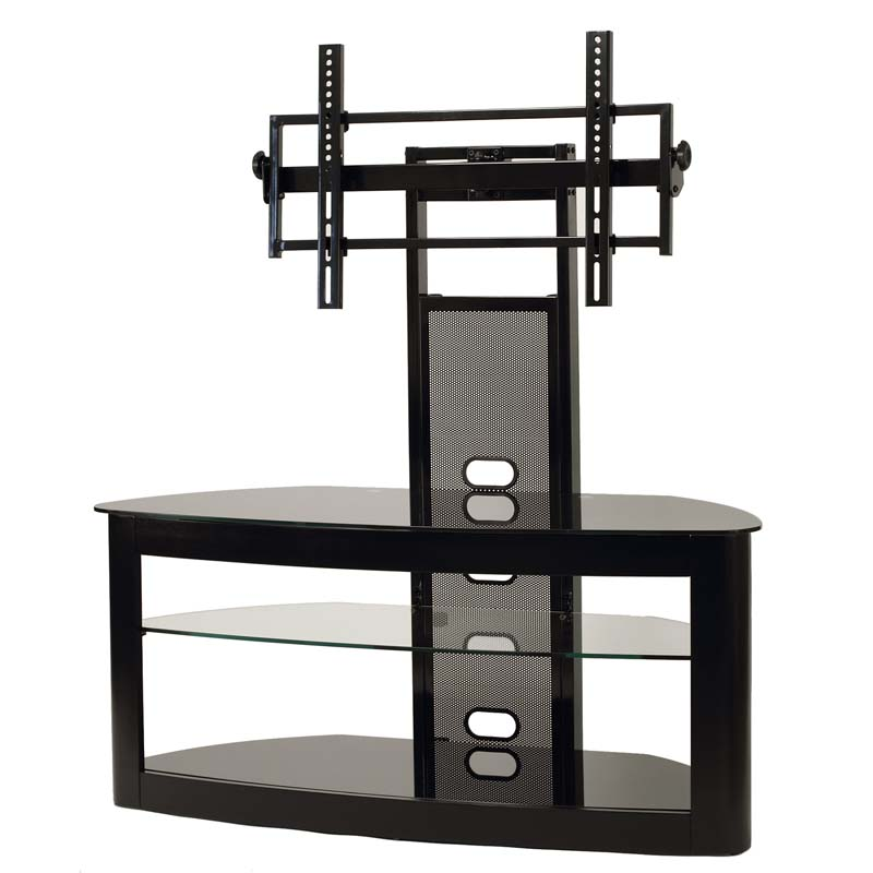 finest selection d9a06 7f444 TransDeco Glass TV Stand with Mount for 35 to 80 inch Screens (Black) TD600B