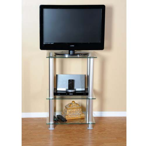RTA Home and Office Extra Tall Glass and Aluminum LCD//Plasma TV Stand and Utility Table or End Table for a 20 TV