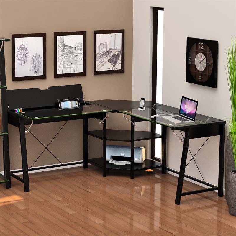 Z Line Designs Vance Corner Desk With Storage Black Clear Glass Zl3210 01ldu