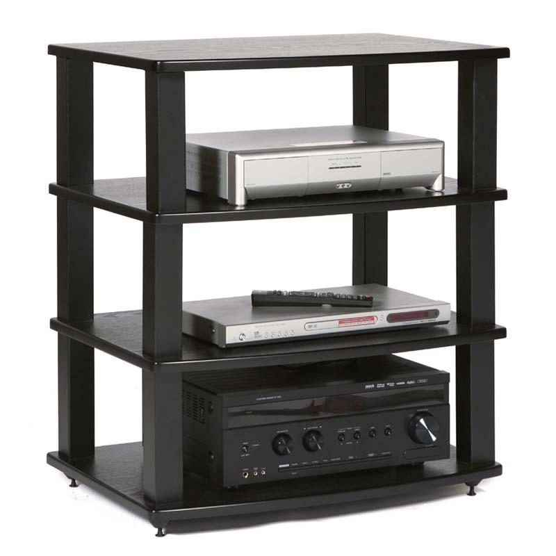 Plateau Xt Series Heavy Duty 4 Shelf Wood Audio Rack Black