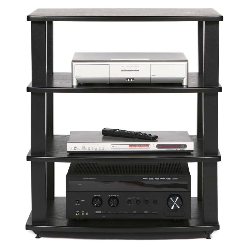 Plateau Xt Series Heavy Duty 4 Shelf Wood Audio Rack Black A4 B