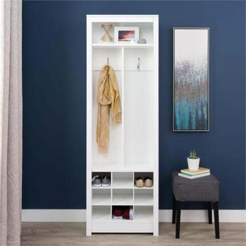 View a large image of the Prepac Space-Saving Entryway Organizer with Shoe Storage White WSOH-0010 here.