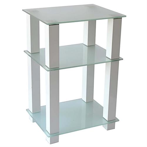 View a large image of the RTA Extra Tall Frosted Glass and Aluminum 27 inch TV Stand White TVM-005W here.
