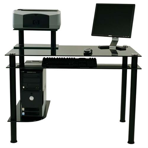 View a large image of the RTA Modern Black Glass Computer Desk with Hutch Black CT-009B here.