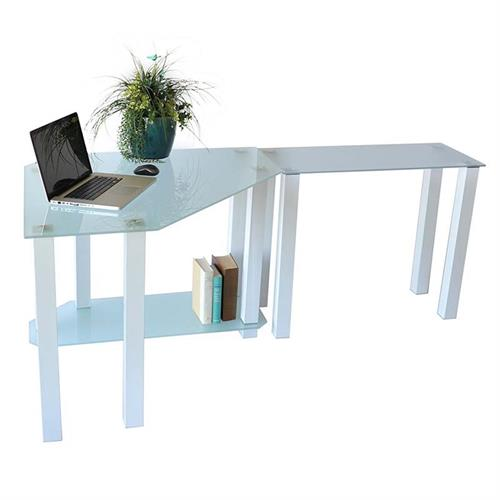 View a large image of the RTA Frosted Glass Corner Computer Desk with Right Side Extension Table White CT-013RW here.