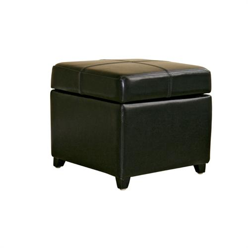 View a large image of the Wholesale Interiors Bicast Leather Storage Ottoman Black 0380-J023-BLACK here.