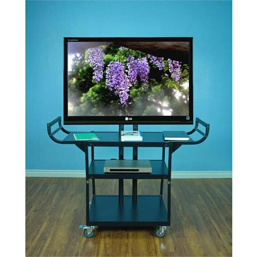 View a large image of the VTI Three Shelf Audio Video Cart with 55 inch TV Mount Black10200 here.