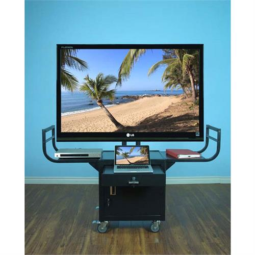 View a larger image of the VTI Audio Video Cart with 65 inch TV Mount and Locking Cabinet (Black)10235.