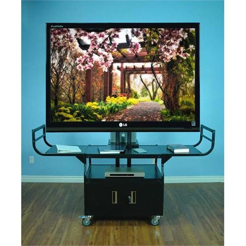 View a large image of the VTI Audio Video Cart with 80 inch TV Mount and Locking Cabinet 10400 here.