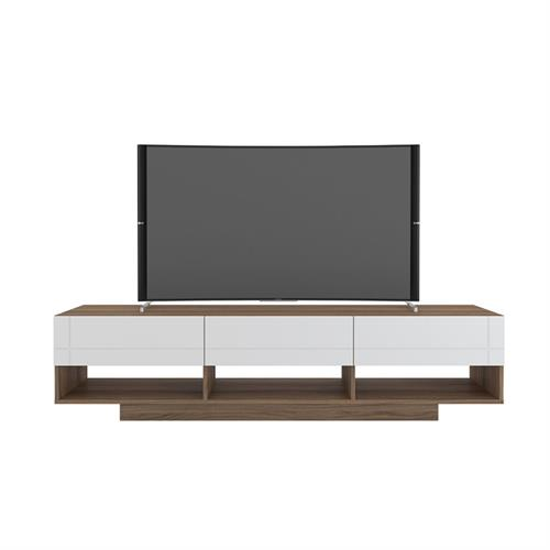 View a larger image of Nexera Rustik TV Stand (72-inch, 3 Drawers, Nutmeg and White) 105470 here.