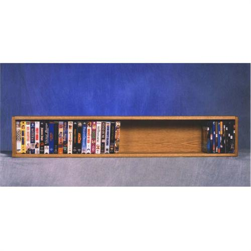 View a large image of the Wood Shed Single Solid Oak Wall Mounted DVD and VHS Shelf or Bookshelf TWS-108-4W here.