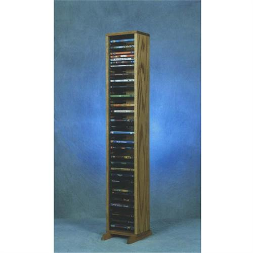 View a large image of the Wood Shed Solid Oak 52 inch Tall DVD Rack 110-4DVD here.