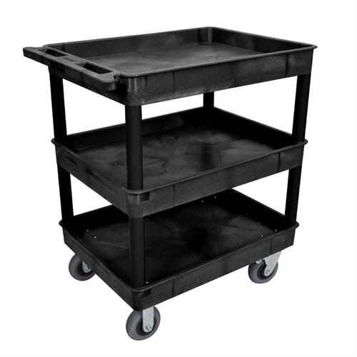 View a large image of the Luxor TC Series 3 Shelf Heavy Duty Utility Cart Black TC111SP6-B here.