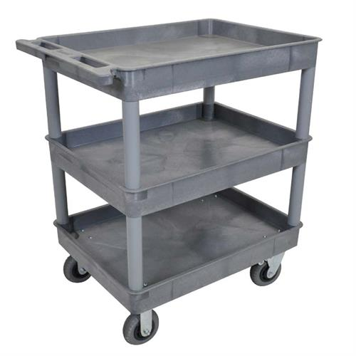 View a large image of the Luxor TC Series 3 Shelf Heavy Duty Utility Cart Gray TC111SP6-G here.