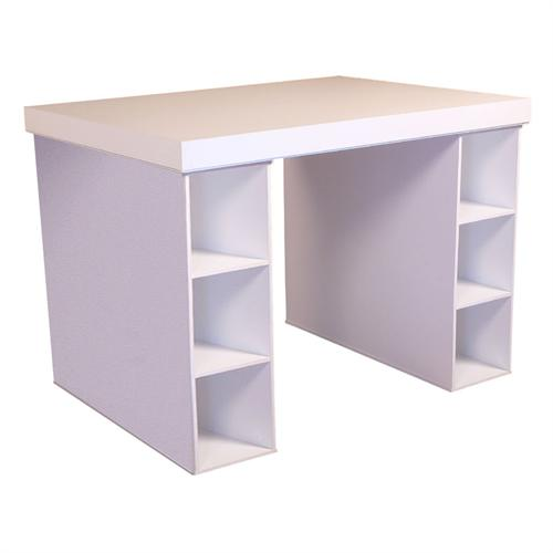 View a large image of the Venture Horizon Project Center Table with 3-Bin Cabinet Sides White 1152-11WH here.