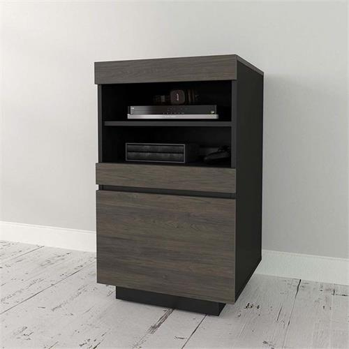 View a large image of the Nexera Lima Collection Audio Tower (Bark Grey and Black) 116245 here.
