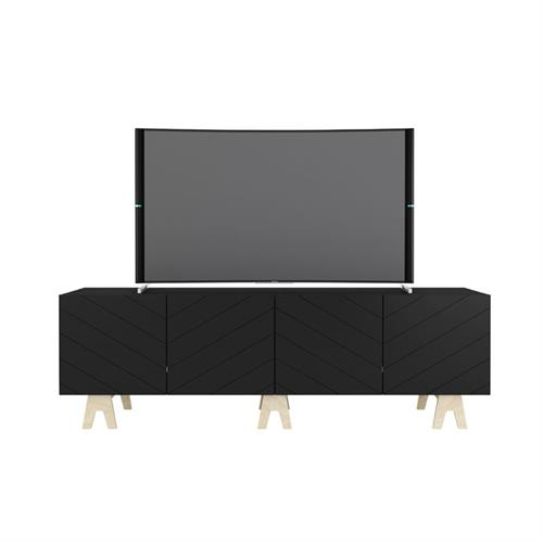 View a larger image of Nexera Runway TV Stand (71-in, Black and Russian Birch Plywood) 119274 here.