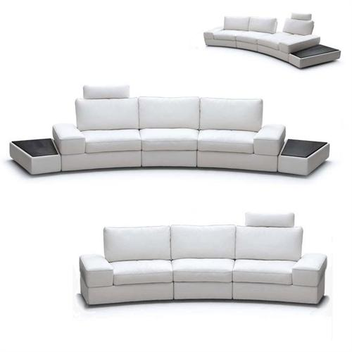 View a large image of the Wholesale Interiors Midori White Leather Adjustable Modern Sectional with Optional Cofee Tables 1295-LAFO7715 1 here.