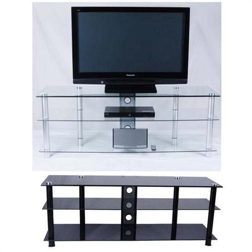 View a large image of the Tier One 60 inch TV Stand Clear or Black Glass T1D-130 here.