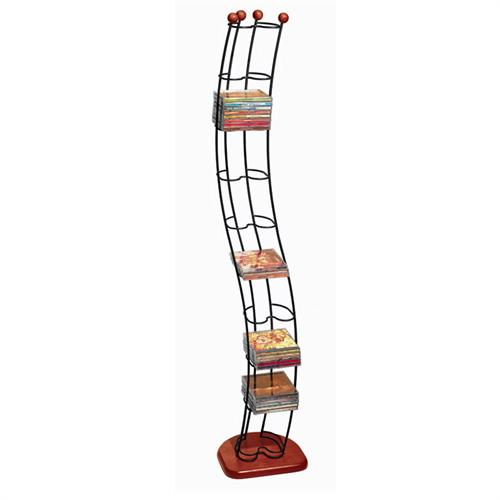 View a large image of the Atlantic Wave Series 110 CD Steel Storage Tower Black with Cherry Wood Base 1316 here.