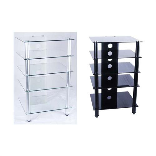 View a large image of the Tier One Glass Audio Component Rack Clear or Black Glass T1D-137 here.
