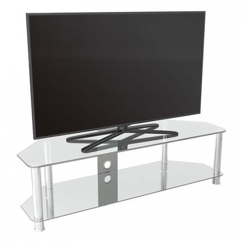 avf sdc series clear glass 65 inch corner tv stand chrome sdc1400cmcc a. Black Bedroom Furniture Sets. Home Design Ideas