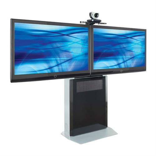 View a large image of the AVTEQ Elite Series Slim Profile Videoconferencing Stand for Dual 42 inch Displays ELT-1500L here.