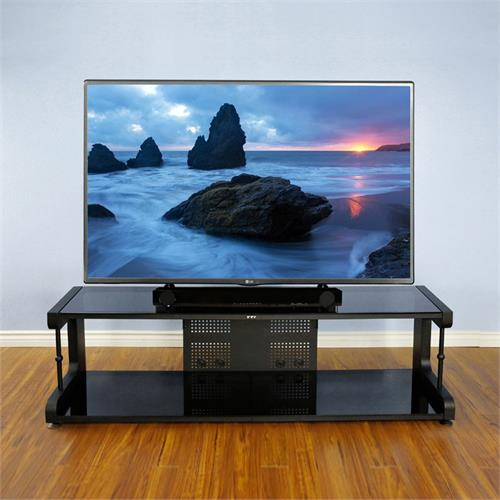 View a large image of the VTI 20800 Series 75 inch TV Stand AV Rack Black Frame Black Glass 20844 here.
